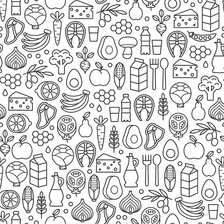 Seamless pattern with healthy food design elements on white background