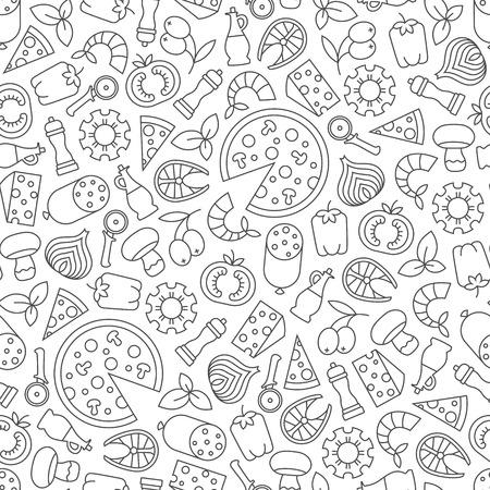 Seamless pattern with pizza design elements on white background