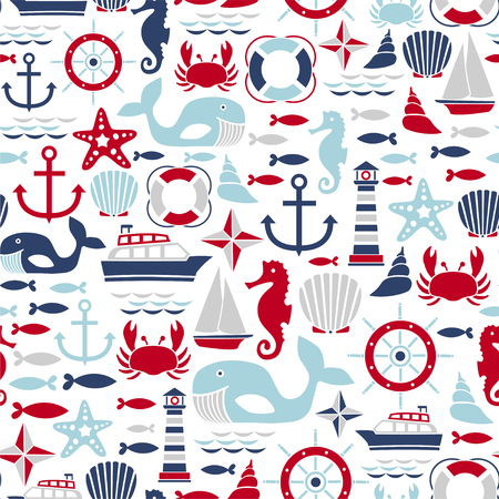 Seamless pattern with sea design elements
