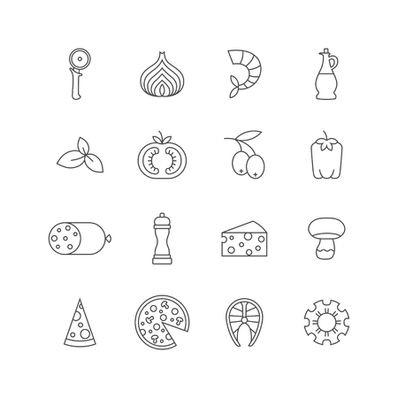 Set of minimalistic pizza icons