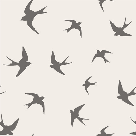 Seamless pattern with little swallows