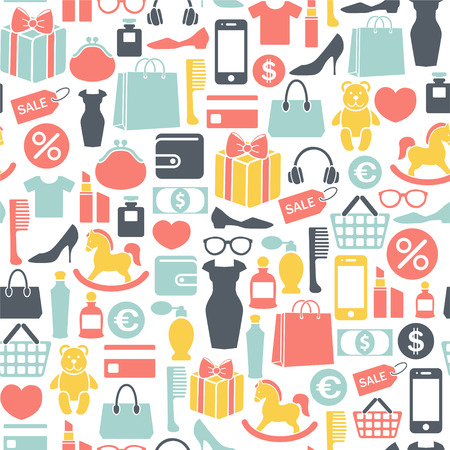 Seamless pattern with shopping design elements