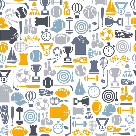 A Seamless pattern with sport design elements illustration.