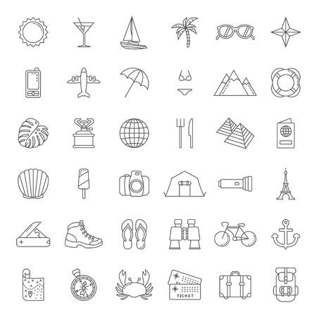 Set of minimalistic traffic icons illustration. Illusztráció