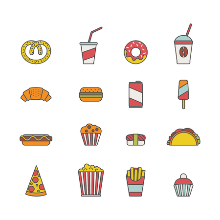 Set of colorful fast food icons illustration. Ilustração