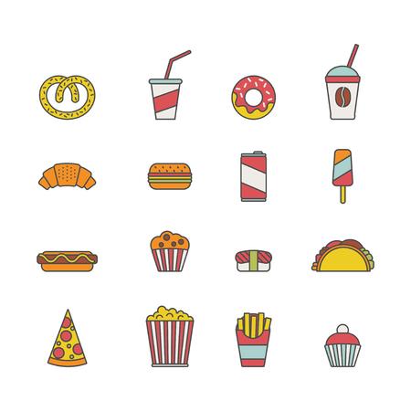 Set of colorful fast food icons illustration. Illusztráció