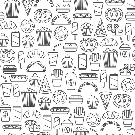 A Seamless pattern with fast food design elements illustration.