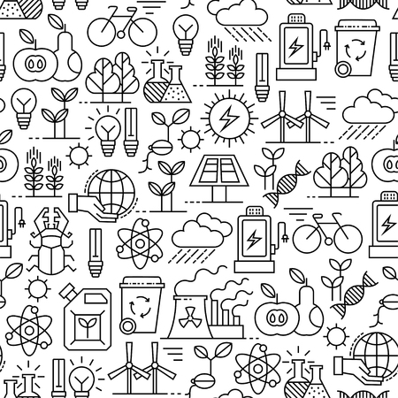 A Seamless pattern with ecology design elements illustration.