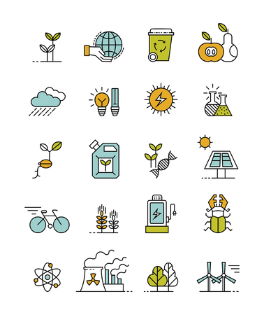 Set of minimalistic ecology icons illustration.