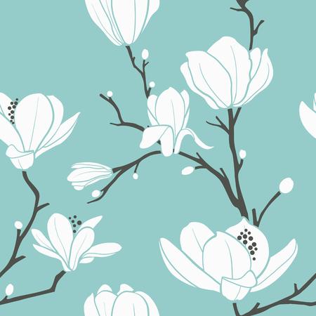 seamless pattern with magnolia pattern Illustration