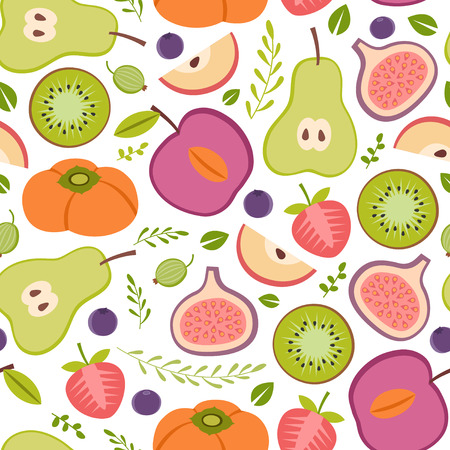seamless pattern with healthy fruits on white background