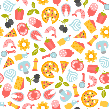 seamless pattern with pizza design elements Ilustração