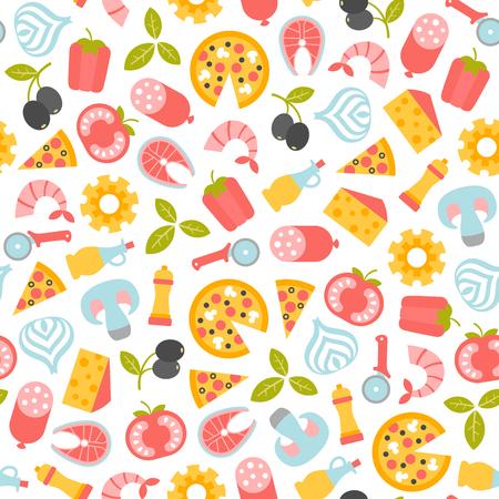 seamless pattern with pizza design elements Illusztráció