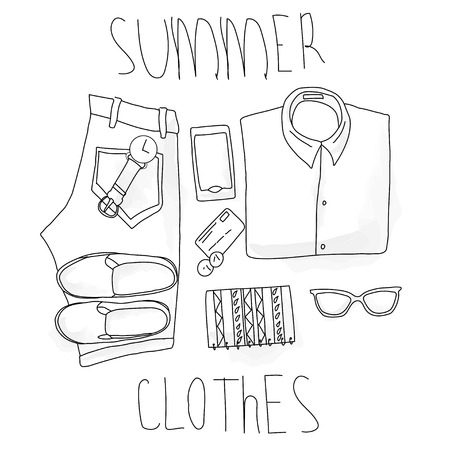 scarf beach: set summer clothing , hand-drawing, vektor