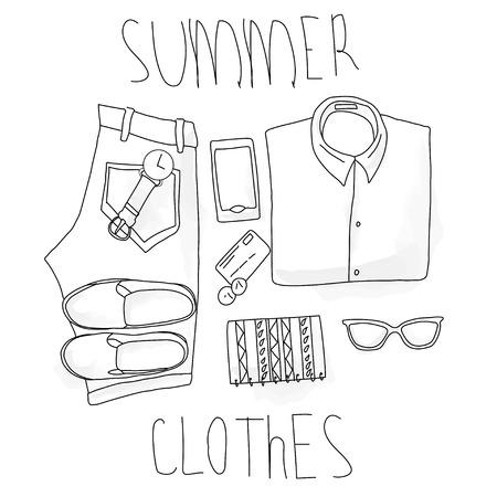 set summer clothing , hand-drawing, vektor