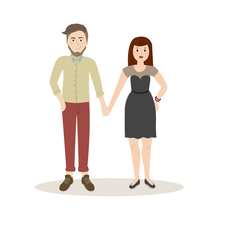 Couple vector illustration . Business couple on a white background . Traveller vector icon illustration . Wedding couple isolated vector. Evening couple silhouette - Vector