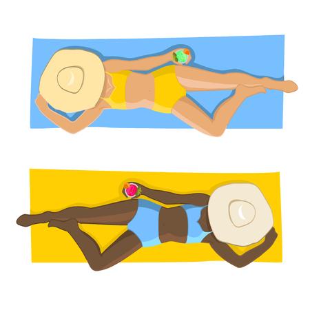 art vector women on beach. Top view. Vettoriali