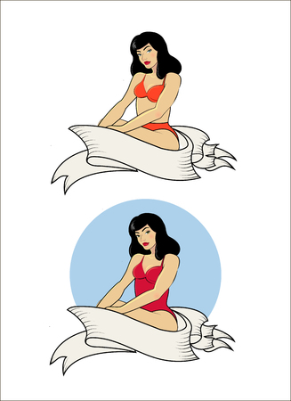 pin up: Vector illustration pin up girl