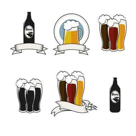 pint: Beer vector icons set - bottle, glass, pint