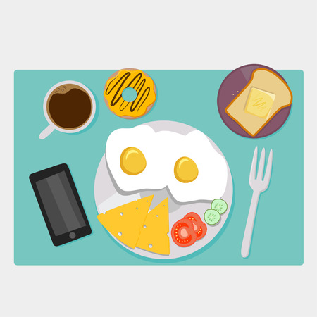 breakfast in bed: Breakfast icons flat set with coffee time corn flakes bed isolated vector illustration Illustration