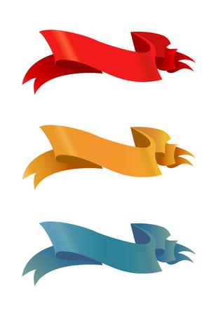 chatbox: set design four different color retro ribbons