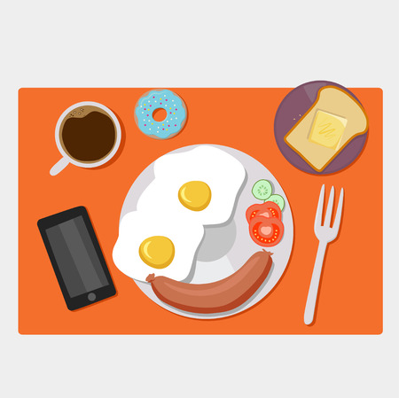 breakfast in bed: Breakfast icons flat set with coffee time corn flakes bed isolated illustration