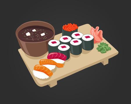 egg roll: sushi image for cafe , restaurant menu Illustration