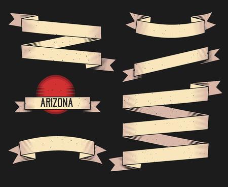 Isolated beige ribbons on black background Ilustração