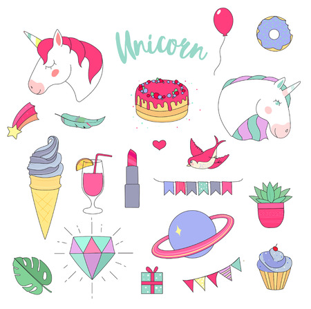 set of fashion stickers on white background