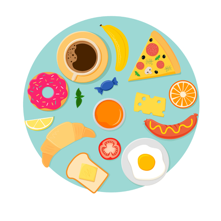 A Vector icons for breakfast on blue background isolated on white background.