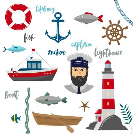 Vector maritime sea icons on white background Ilustração