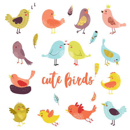 Vector icon cartoon bird on white background