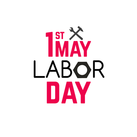 1 may - labour day. vector labour day poster or banner  イラスト・ベクター素材