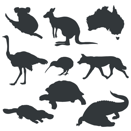 A Vector silhouettes of animals from Australia on white background