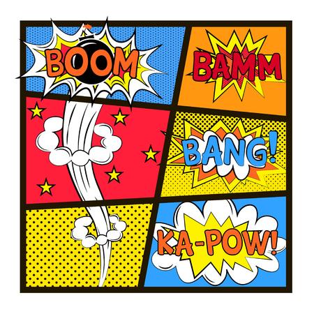 Vector set of explosion in pop art style Ilustração