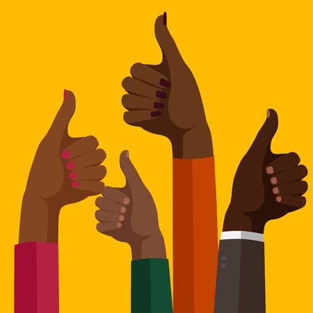 A Vector design image set of hands thumbs up Ilustração