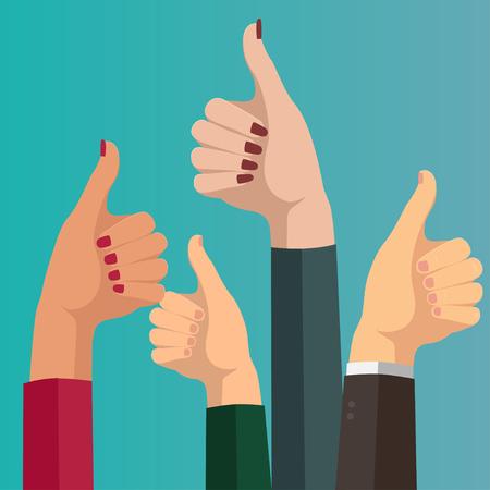 Design vector image set of hands thumbs up.