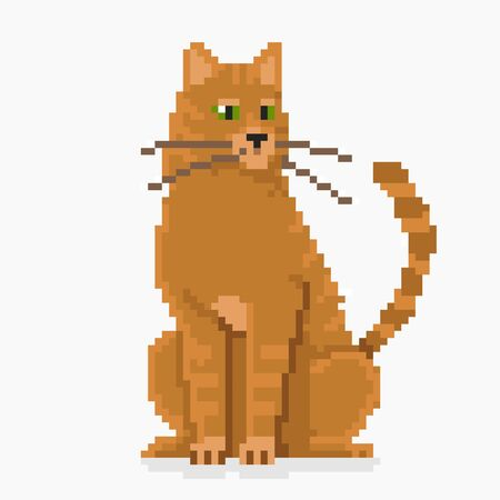 Pixel red cat face high detailed isolated vector