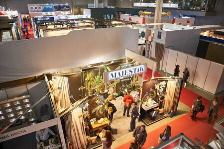 RUSSIA, MOSCOW - APRIL, 04, 2019 Crocus Expo exhibition of building and finishing materials Sajtókép
