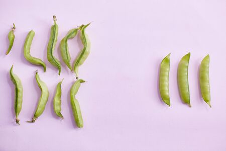 Ugly homegrown pea with a normal pea on a pink background. copy space