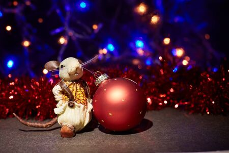 The rat is the symbol of 2020 with New Years Christmas balls. Zdjęcie Seryjne