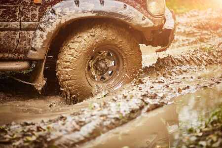 moving dirty off-road car tire in mud close-up. Copy space.