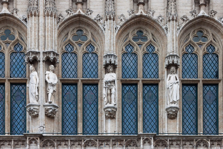 gothic architecture: Detail of the gothic architecture of the Town Hall of Brussels, Belgium