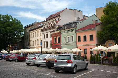 POLAND, KRAKOW - MAY 27, 2016: In the centre streets of the Kazimierz Jewish district of Krakow. For many centuries, Kazimierz was a place of coexistence and interpenetration of Christian and Jewish cultures. Editorial