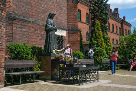 congregation: POLAND, KRAKOW - MAY 28, 2016: Monument to Saint Faustina Kowalska. Monastery Congregation of the Sisters of Our Lady of Mercy. Sanctuary in Lagiewniki.