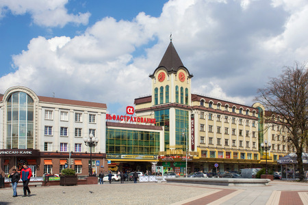 renamed: RUSSIA, KALININGRAD - APRIL 29, 2016: Kaliningrad Passage building on Victory Square in the center of Kaliningrad. Until 1945, the city was a part of Germany and was called Koenigsberg. After the Second World War as a part of Russia and renamed Kaliningra Editorial