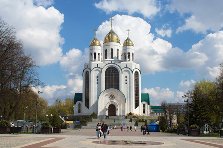 renamed: RUSSIA, KALININGRAD - APRIL 29, 2016: Cathedral of the Orthodox Church in Victory Square in the center of Kaliningrad. Until 1945, the city was a part of Germany and was called Koenigsberg. After the Second World War as a part of Russia and renamed Kalini