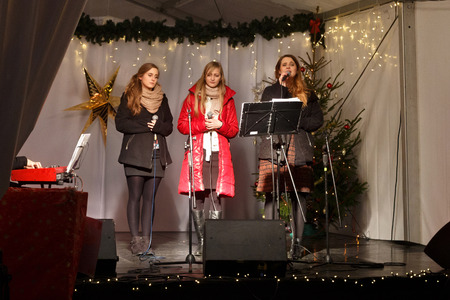 choral: POLAND, SOPOT - DECEMBER 14, 2014: An unknown youth group performs catholic Christmas songs in anticipation of New Year holidays.