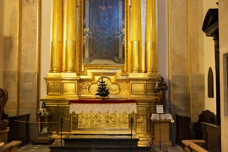 saints peter and paul: POLAND, KRAKOW - JANUARY 01, 2015: Saints Peter and Paul Church (XVI-XVII century) in Krakow. Altar with a picture of the Virgin Mary and Sts. Anne and Joachim in early baroque style. Editorial