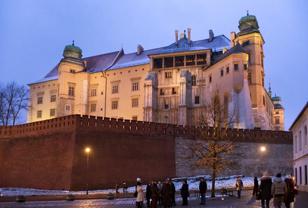 constitute: POLAND, KRAKOW - JANUARY 01, 2015:  Famous medieval Wawel Castle in Krakow. The Wawel Royal Castle and the Wawel Hill constitute the most historically and culturally important site in Poland. Editorial